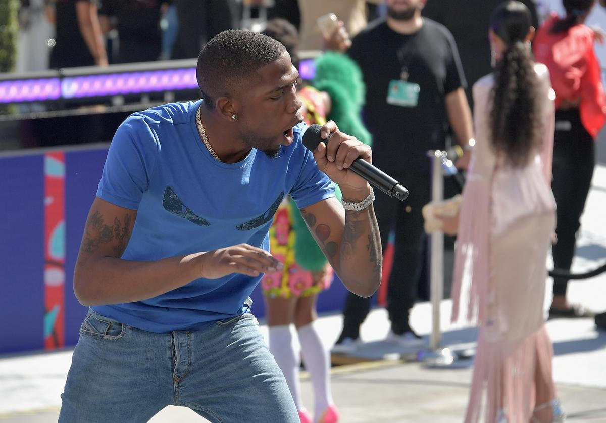 BlocBoy JB performs onstage at Live! Red! Ready! Pre-Show, sponsored by Nissan, at the 2018 BET Awards at Microsoft Theater on June 24, 2018 in Los Angeles, California