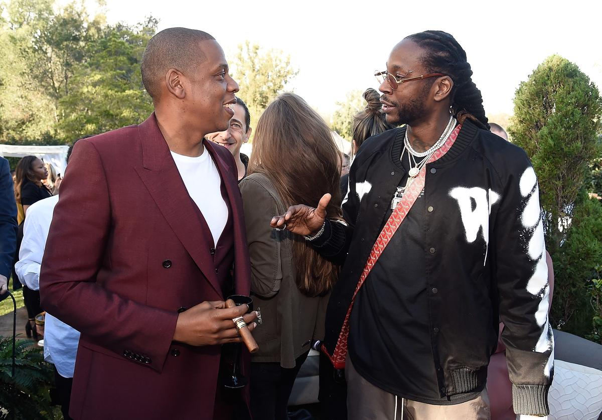Jay Z and 2 Chainz attend 2017 Roc Nation Pre-GRAMMY brunch at Owlwood Estate on February 11, 2017 in Los Angeles, California.