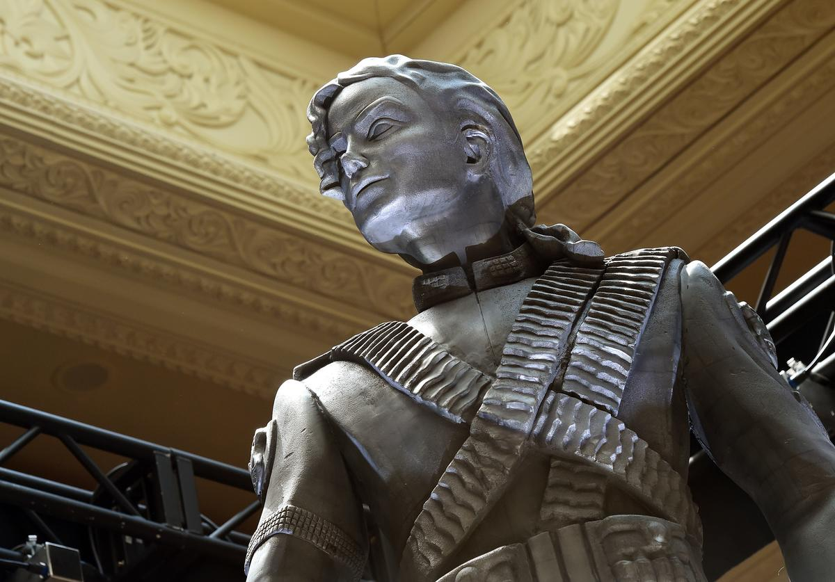 Michael Jackson's 10-foot-tall HIStory statue is unveiled at the Mandalay Bay Resort and Casino on July 28, 2016 in Las Vegas, Nevada