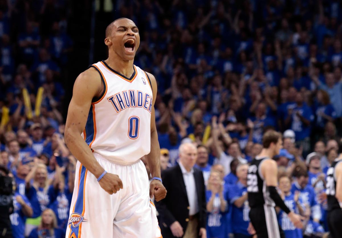 Russell Westbrook #0 of the Oklahoma City Thunder reacts in the fourth quarter while taking on the San Antonio Spurs in Game Three of the Western Conference Finals of the 2012 NBA Playoffs at Chesapeake Energy Arena on May 31, 2012 in Oklahoma City, Oklahoma.