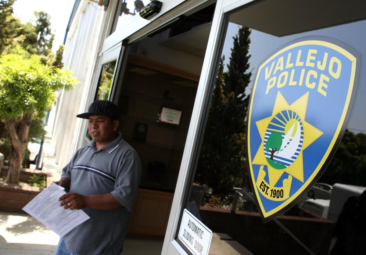 A man walks out of the Vallejo Police department May 7, 2008 in Vallejo, California
