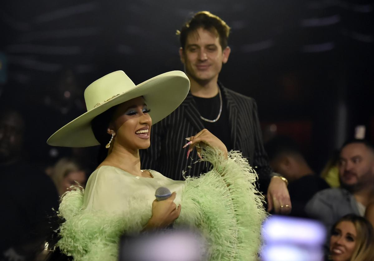 Cardi B (L) and G-Easy perform during the grand opening of KAOS Dayclub & Nightclub at Palms Casino Resort on April 06, 2019 in Las Vegas, Nevada
