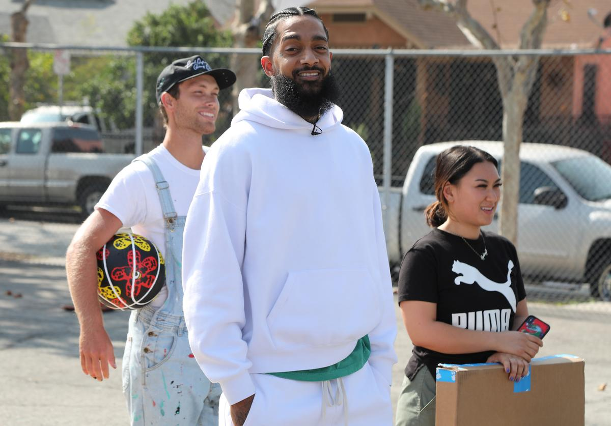 Nipsey Hussle attends Nipsey Hussle x PUMA Hoops Basketball Court Refurbishment Reveal Event on October 22, 2018 in Los Angeles, California