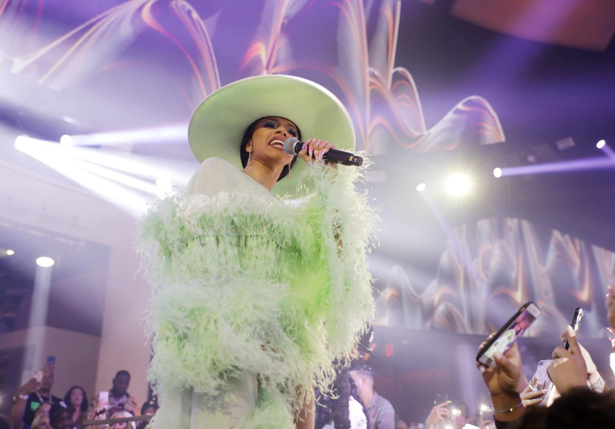 Cardi B performs at the 'Night Two At Palms Casino Resort's KAOS Dayclub & Nightclub With Cardi B, G-Eazy, J Balvin For Grand Opening Weekend' event on April 6, 2019 in Las Vegas, Nevada