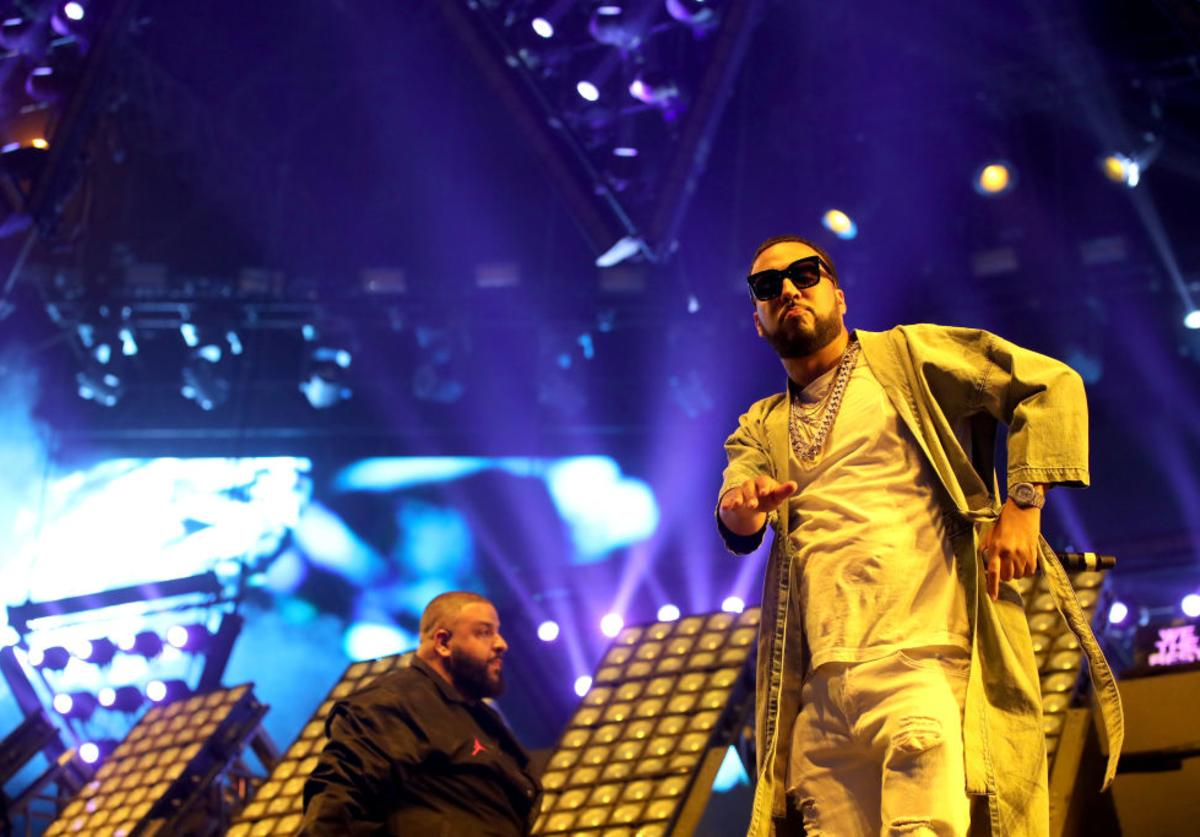 DJ Khaled and rapper French Montana perform on the Sahara stage during day 3 of the Coachella Valley Music And Arts Festival (Weekend 1) at the Empire Polo Club on April 16, 2017 in Indio, California.