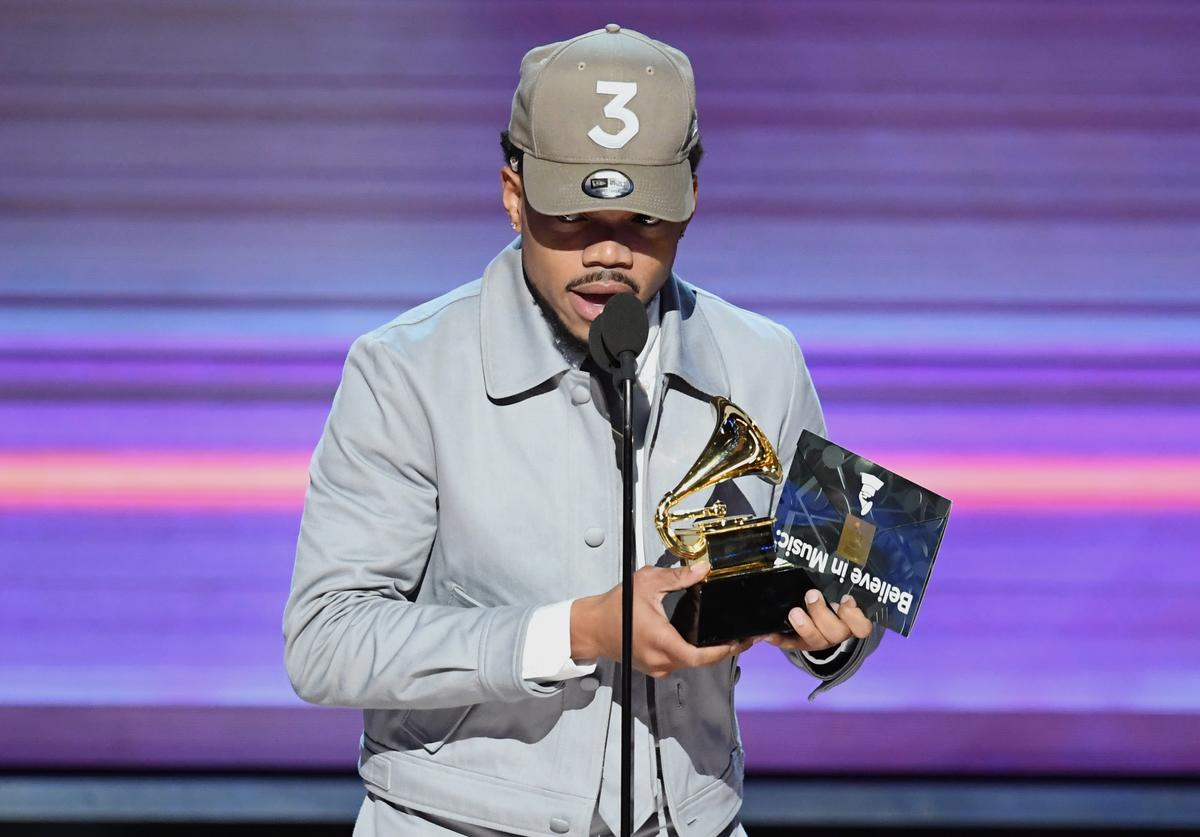 Chance the Rapper accepts the Best Rap Album award for 'Coloring Book'