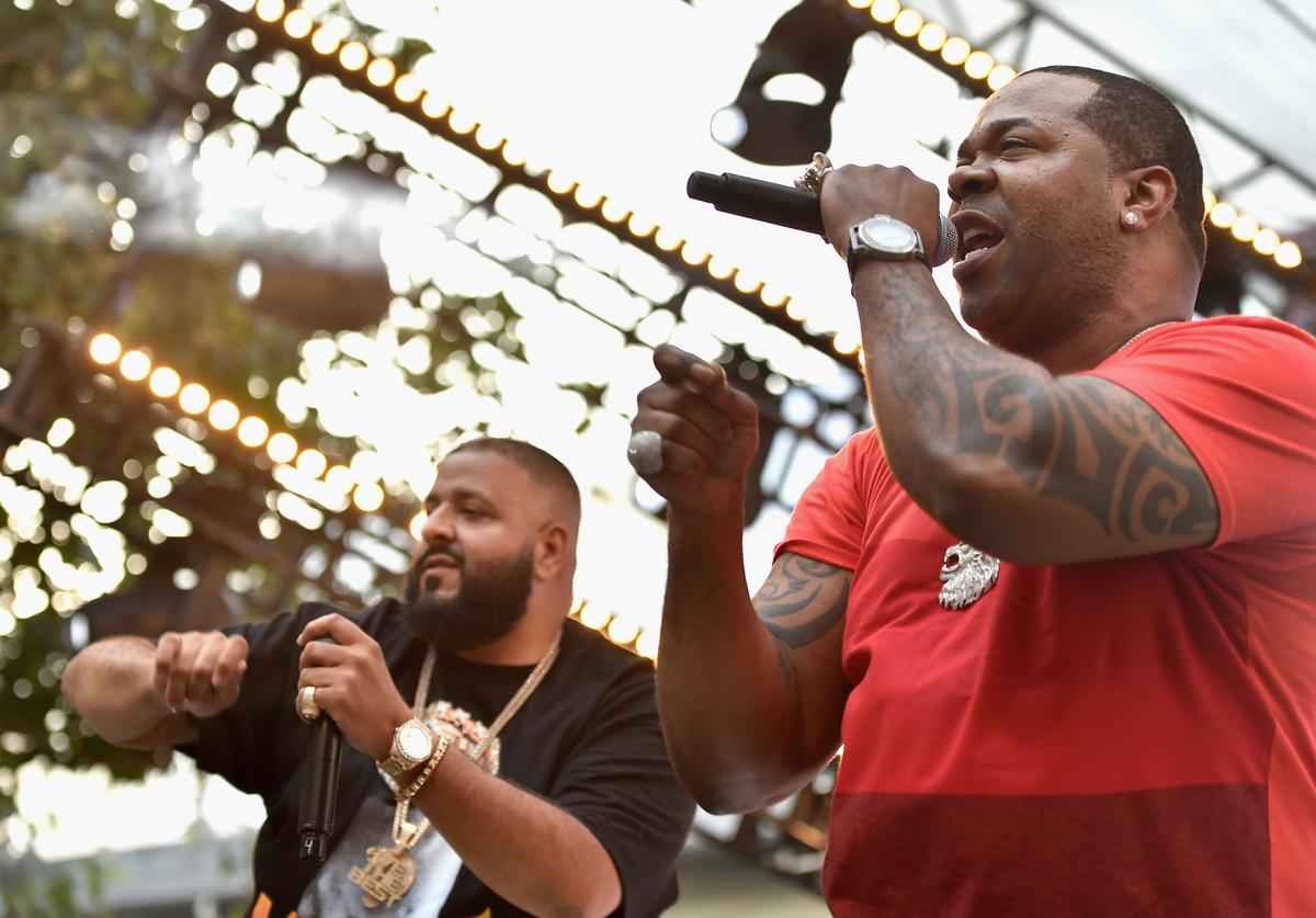 DJ Khaled (L) and Busta Rhymes perform onstage at EpicFest 2016 hosted by L.A. Reid and Epic Records at Sony Studios on June 25, 2016 in Los Angeles, California