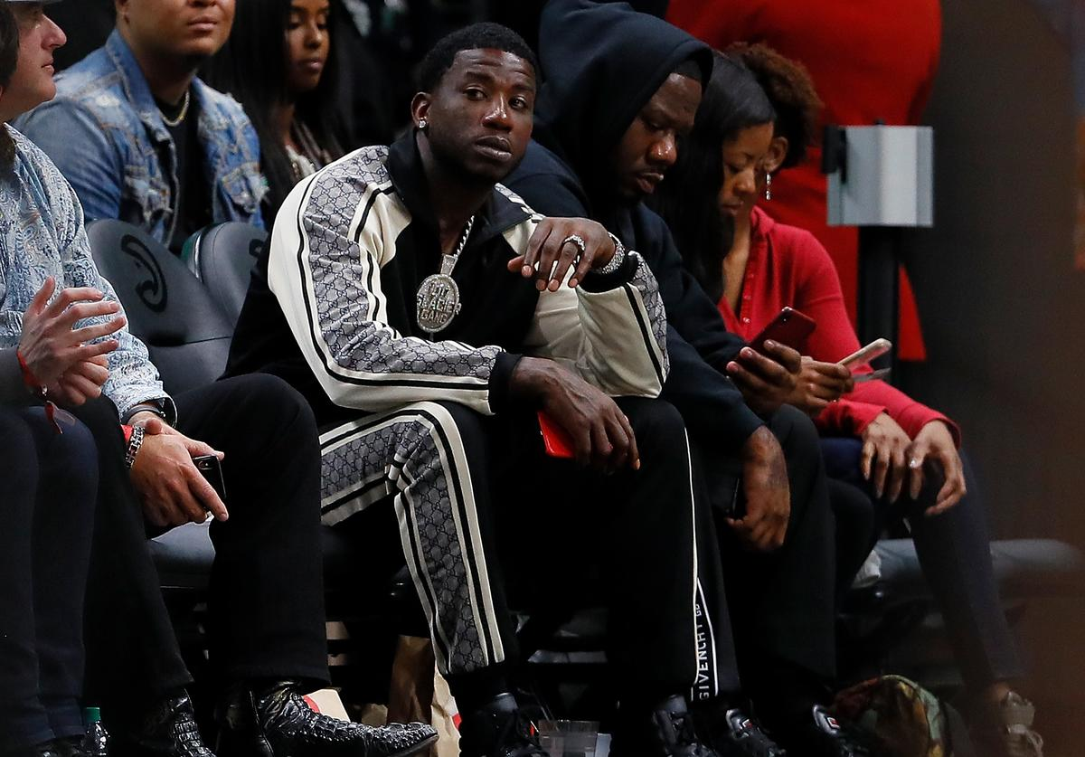 Gucci Mane looks on during the game between the Atlanta Hawks and the Detroit Pistons at State Farm Arena on November 9, 2018 in Atlanta, Georgia