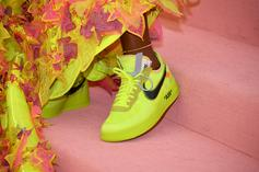 """Serena Williams Flexes """"Volt"""" Off White X Nike Air Force 1's At Met Gala"""