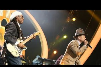 Pharrell Performs At 2014 Brit Awards