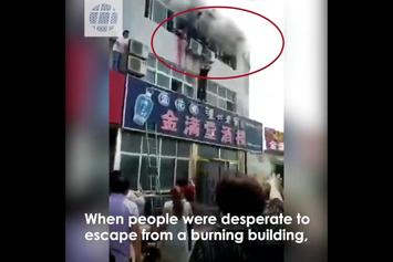 Clutch: People Stuck In Burning Building Are Saved By Jumping On Truck Full Of Plants!!