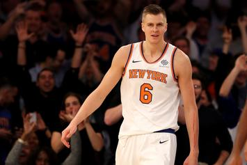 Kristaps Porzingis Helped Off Court & Leaves Game With Apparent Knee Injury