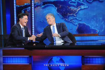 "Jon Stewart Crashes ""The Late Show With Stephen Colbert"" & Blasts Trump"