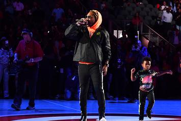 "Future Brings Out His Son To Perform ""March Madness"" At Hawks Halftime Show"