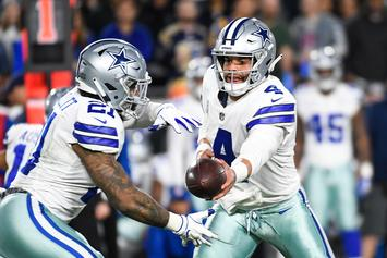 Dak Prescott Gives Ezekiel Elliott A Popcorn Shower At Dallas Stars Game