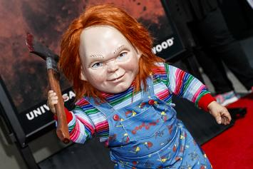 """Chucky Appears To Murder Woody From """"Toy Story"""" In """"Child's Play"""" Poster"""