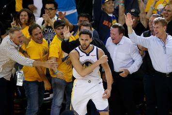 Klay Thompson Appears Out Of Bounds During Pivotal Warriors Possession