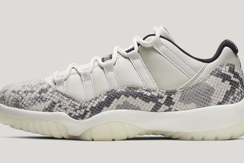 "Air Jordan 11 Low Snakeskin ""Light Bone"" Drops This Week: Official Photos"