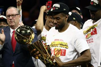 Kawhi Leonard & Raptors Showered In Champagne After NBA Finals Win