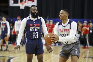 James Harden Teases Rockets Fans With Russell Westbrook Photo Op