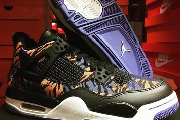 """Air Jordan 4 Rumored To Release In Exotic """"Tiger Camo"""" Colorway: First Look"""