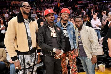 Quavo & Offset Had A Blast At The Lakers Game With Kevin Hart, Kobe Bryant & More