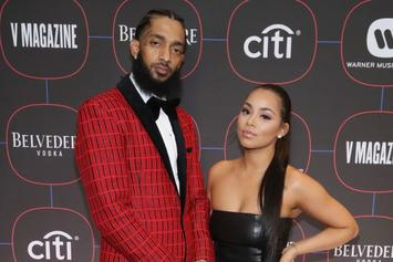 Lauren London Poses Next To Nipsey Hussle's Certified Plaques At Grammy Event