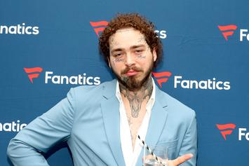 Post Malone's New Face Tattoo Is A Bloody Saw Blade