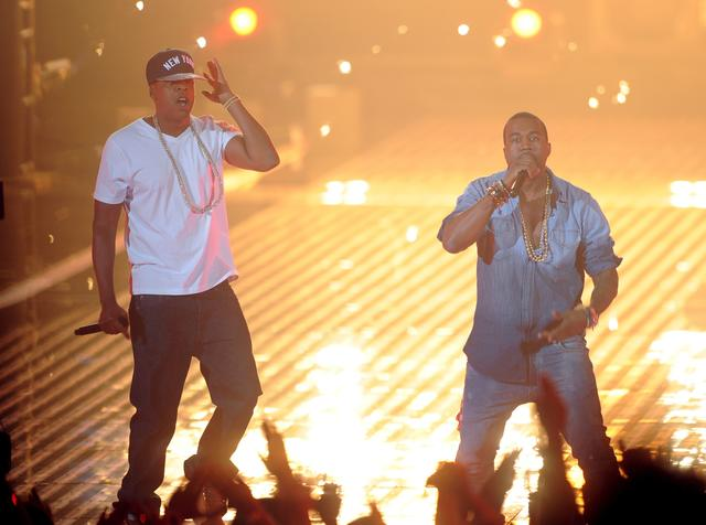 Jay Z and Kanye West performing on stage