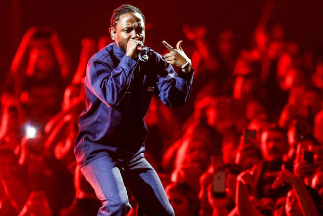 Kendrick Lamar performing with the Weeknd