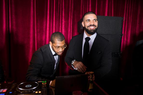 : In this handout photo provided by Netflix, Drake (R) attends the Netflix Golden Globes after party at Waldorf Astoria Beverly Hills on January 7, 2018 in Beverly Hills, California.