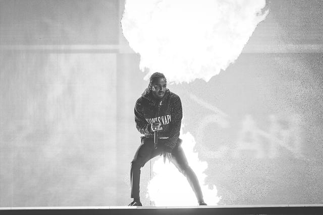 Kendrick Lamar performing at the BRIT Awards