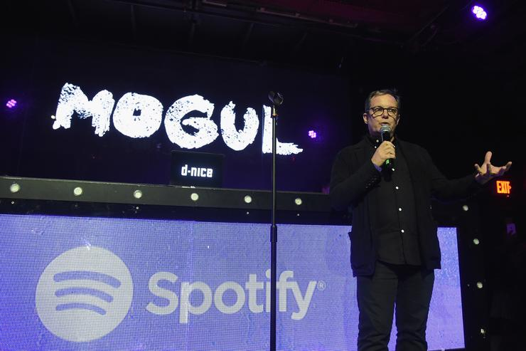 Spotify CEO Tom Calderone speaks on stage the Spotify Mogul launch party celebrates the life of Chris Lighty at Marquee on May 8, 2017 in New York City.