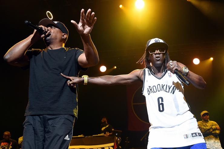 Rappers Chuck D (L) and Flavor Flav of Public Enemy perform at The Joint inside the Hard Rock Hotel & Casino on June 6, 2015 in Las Vegas, Nevada.