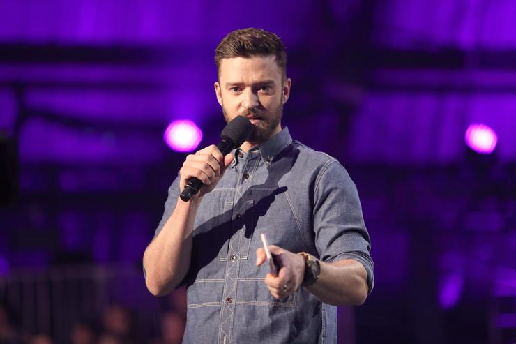 Justin Timberlake speaks on stage during XQ Super School Live, presented by EIF, at Barker Hangar on September 8, 2017 in Santa California.