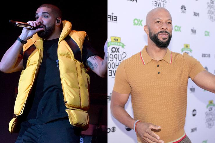 Drake and Common split screen image