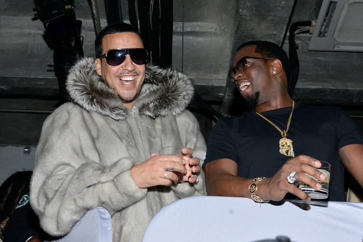 Rapper French Montana (L) and P.Diddy attend Time Warner Cable Studios and Revolt Bring the Music Revolution event on February 1, 2014 in New York City
