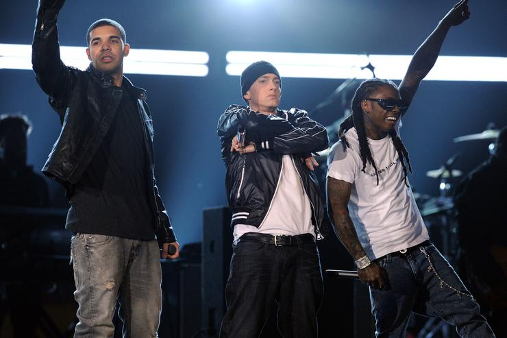 Drake, Eminem and Lil Wayne performing at the Grammys