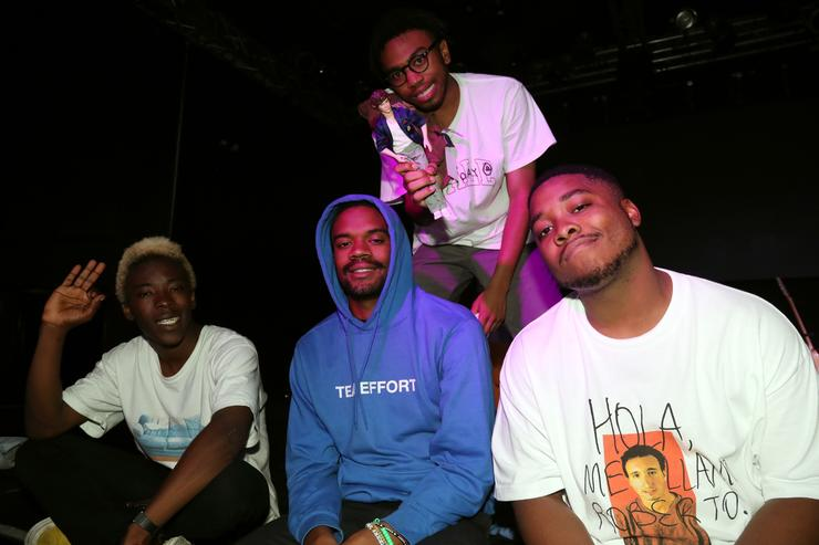Merlyn Wood, Ameer Vann, Kevin Abstract, and Dom McLennon of BrockHampton backstage at Highline Ballroom on September 11, 2017 in New York City.