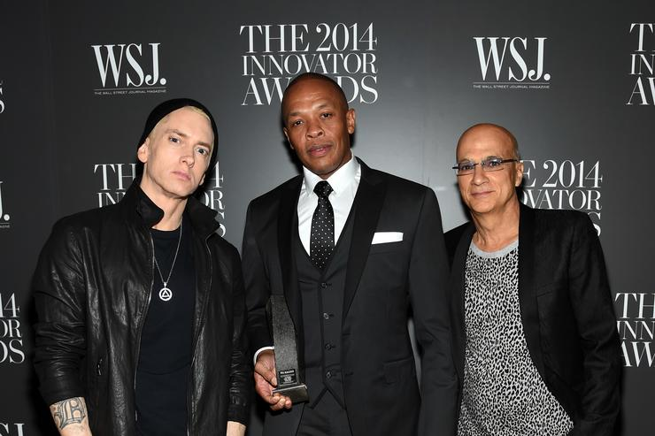 Eminem with Dr. Dre and Jimmy Iovine