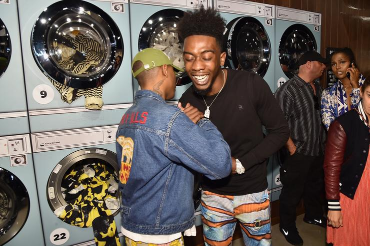Pharrell Williams (L) and Desiigner at G-Star RAW Presents The New G-Star Elwood X25 Prints - New York Fashion Week - Spring/Summer 2018 on September 13, 2017 in New York City.