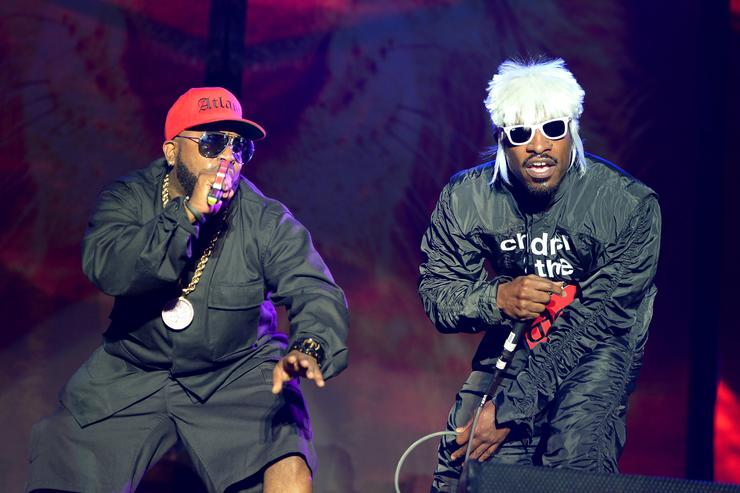 Big Boi (L) and Andre 3000 of Outkast perform onstage during day 3 of the Firefly Music Festival on June 21, 2014 in Dover, Delaware