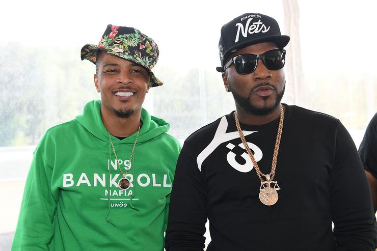 T.I. and Young Jeezy attend Bankroll Mafia Album Release Party at Top Golf Midtown on April 22, 2016 in Atlanta, Georgia.