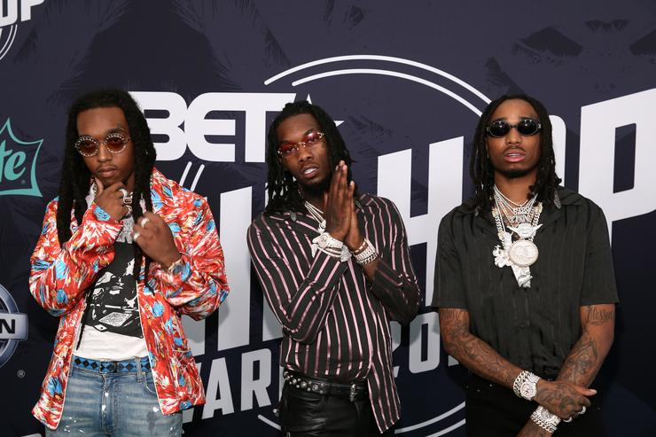 Rappers Takeoff, Offset, and Quavo of Migos attend the BET Hip Hop Awards 2017 at The Fillmore Miami Beach at the Jackie Gleason Theater on October 6, 2017 in Miami Beach, Florida.