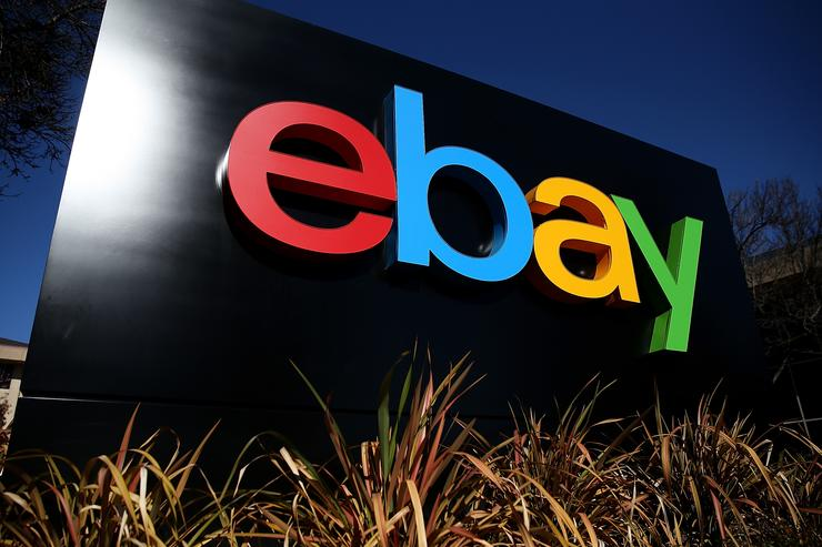 A sign is posted in front of the eBay headquarters on January 22, 2014 in San Jose, California. eBay Inc. will report fourth quarter earnings today after the closing bell.