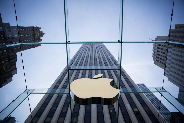 The Apple logo is displayed at the Apple Store June 17, 2015 on Fifth Avenue in New York City. The company began selling the watch in stores Wednesday with their reserve and pick up service. Previously the product could only be ordered online.