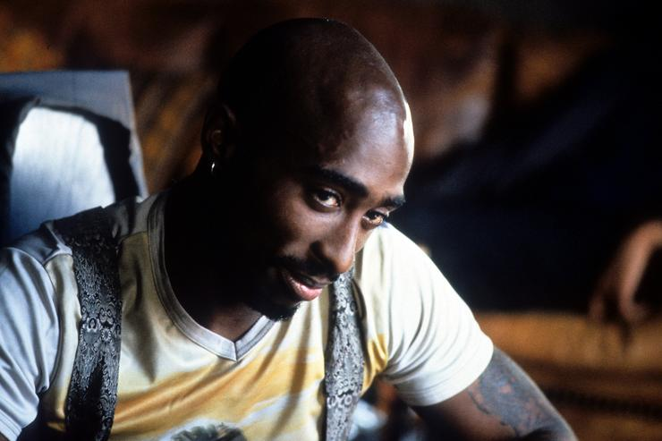 Tupac Shakur in a scene from the film 'Gridlock'd', 1997.