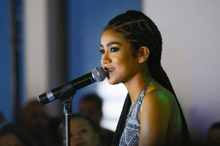 Jhene Aiko performs at Neff Headwear x PacSun presents Jhene Aiko's 'Soul of Summer' Collection at U.S. Bank Tower on June 10, 2015 in Los Angeles, California.