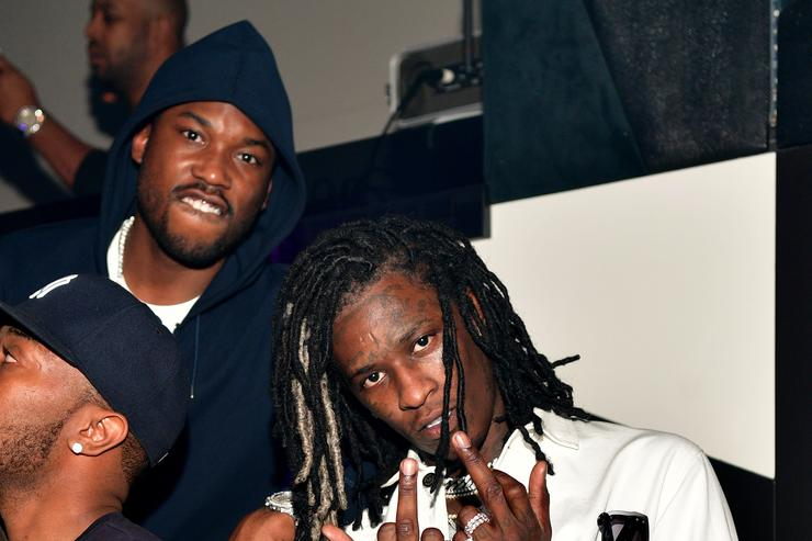 "Young Thug & Meek Mill at Gucci Mane's ""Woptober"" album release"