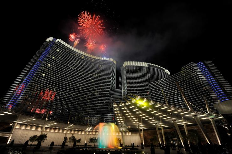 ireworks explode over the Aria Resort & Casino at CityCenter as part of a New Year's Eve celebration January 1, 2010 in Las Vegas, Nevada.